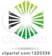 Clipart Of A Floating Green And Black Rays Icon Royalty Free Vector Illustration