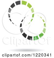 Clipart Of A Floating Green And Black Rings Icon Royalty Free Vector Illustration