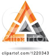 Clipart Of A Floating 3d Black And Orange Pyramid Icon Royalty Free Vector Illustration