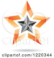 Clipart Of A Floating 3d Black And Orange Star Icon Royalty Free Vector Illustration by cidepix