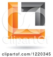 Clipart Of A Floating 3d Black And Orange Square Icon Royalty Free Vector Illustration