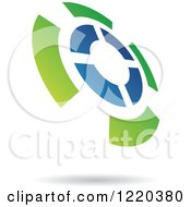 Clipart Of A Green And Blue Target Icon Royalty Free Vector Illustration