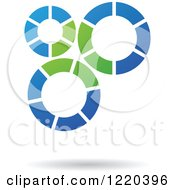 Clipart Of A Green And Blue Gear Icon Royalty Free Vector Illustration