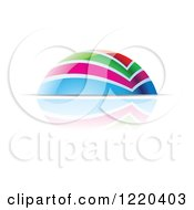 Clipart Of A Colorful Dome And Reflection 2 Royalty Free Vector Illustration