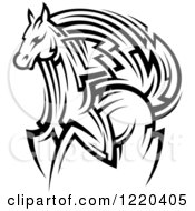 Clipart Of A Black And White Running Tribal Horse Royalty Free Vector Illustration