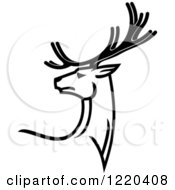 Clipart Of A Black And White Deer With Antlers 4 Royalty Free Vector Illustration by Vector Tradition SM
