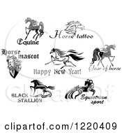 Clipart Of Horses With Text Royalty Free Vector Illustration