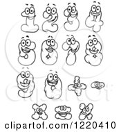 Clipart Of Black And White Cloud Numbers And Math Symbols Royalty Free Vector Illustration