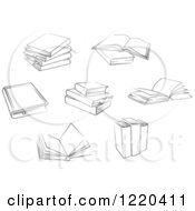Clipart Of Black And White Books Royalty Free Vector Illustration