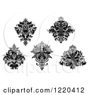 Clipart Of Black And White Floral Damask Designs Royalty Free Vector Illustration