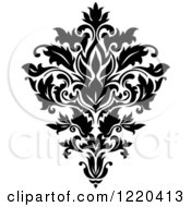 Clipart Of A Black And White Floral Damask Design Royalty Free Vector Illustration