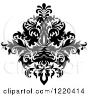 Clipart Of A Black And White Floral Damask Design 2 Royalty Free Vector Illustration