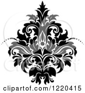 Clipart Of A Black And White Floral Damask Design 3 Royalty Free Vector Illustration