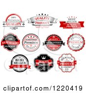 Clipart Of Retail Quality Labels With Sample Text 4 Royalty Free Vector Illustration