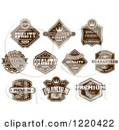 Clipart Of Retail Brown Quality Labels With Sample Text Royalty Free Vector Illustration