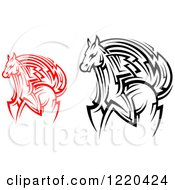 Clipart Of Red And Black And White Running Tribal Horses Royalty Free Vector Illustration