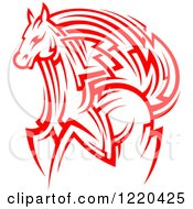 Clipart Of A Red Running Tribal Horse Royalty Free Vector Illustration