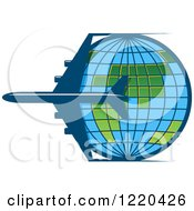 Clipart Of A Blue Airplane Circling A Grid Globe Royalty Free Vector Illustration by Vector Tradition SM