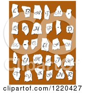 Clipart Of Vintage Alphabet Letters On Torn Paper Over Brown Royalty Free Vector Illustration