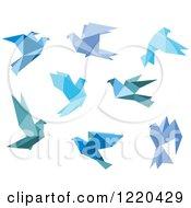 Clipart Of Bue Origami Birds Royalty Free Vector Illustration