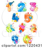 Clipart Of Festive Party Numbers Royalty Free Vector Illustration