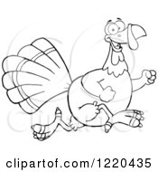 Clipart Of An Outlined Happy Thanksgiving Turkey Bird Running Royalty Free Vector Illustration