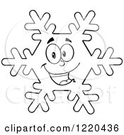 Clipart Of An Outlined Happy Snowflake Mascot Royalty Free Vector Illustration by Hit Toon