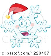 Clipart Of A Happy Christmas Snowflake Mascot Wearing A Santa Hat Royalty Free Vector Illustration by Hit Toon