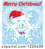 Clipart Of A Merry Christmas Greeting Over A Snowflake Mascot Wearing A Santa Hat Over Blue Royalty Free Vector Illustration by Hit Toon