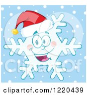Clipart Of A Happy Christmas Snowflake Mascot Wearing A Santa Hat Over Blue Royalty Free Vector Illustration by Hit Toon