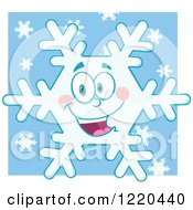 Clipart Of A Happy Snowflake Mascot Over Blue Royalty Free Vector Illustration by Hit Toon