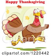 Clipart Of A Happy Thanksgiving Greeting Over A Turkey Bird Running Royalty Free Vector Illustration