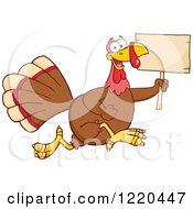 Clipart Of A Happy Thanksgiving Turkey Bird Running With A Wood Sign Royalty Free Vector Illustration