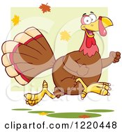 Clipart Of A Happy Thanksgiving Turkey Bird Running With Fall Leaves Royalty Free Vector Illustration