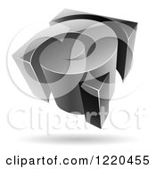 Clipart Of A 3d Grayscale Spiral Logo Royalty Free Vector Illustration by cidepix