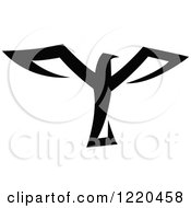 Clipart Of A Black And White Flying Eagle 3 Royalty Free Vector Illustration by cidepix