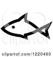Clipart Of A Black And White Fish 3 Royalty Free Vector Illustration