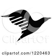 Clipart Of A Black And White Flying Eagle Royalty Free Vector Illustration by cidepix