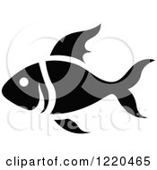 Clipart Of A Black And White Fish Royalty Free Vector Illustration