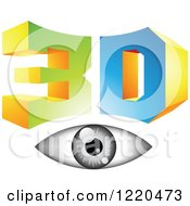 Clipart Of A 3d Icon With A Grayscale Eye Royalty Free Vector Illustration by cidepix