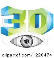 Clipart Of A 3d Icon With A Grayscale Eye 2 Royalty Free Vector Illustration by cidepix
