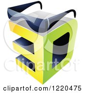 Clipart Of A 3d Icon With Glasses 2 Royalty Free Vector Illustration by cidepix