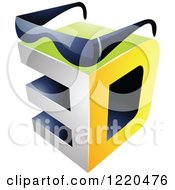 Clipart Of A 3d Icon With Glasses 3 Royalty Free Vector Illustration by cidepix