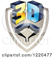 Clipart Of A 3d Icon Shield With Glasses Royalty Free Vector Illustration by cidepix