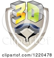 Clipart Of A 3d Icon Shield With Glasses 2 Royalty Free Vector Illustration by cidepix