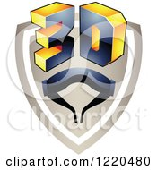 Clipart Of A 3d Icon Shield With Glasses 4 Royalty Free Vector Illustration