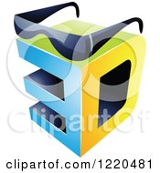 Clipart Of A 3d Icon With Glasses Royalty Free Vector Illustration by cidepix