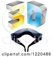 Clipart Of A 3d Icon With Glasses 5 Royalty Free Vector Illustration by cidepix