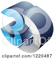Clipart Of A 3d Icon In Blue And Chrome Royalty Free Vector Illustration