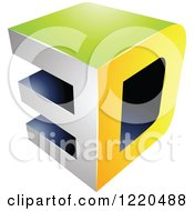 Clipart Of A 3d Icon In Green And Yellow 3 Royalty Free Vector Illustration